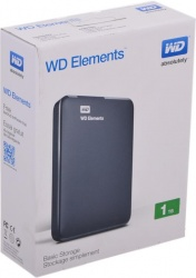 Внешний USB 3.0 жесткий диск Western Digital Elements Portable 1Tb WDBUZG0010BBK-EESN